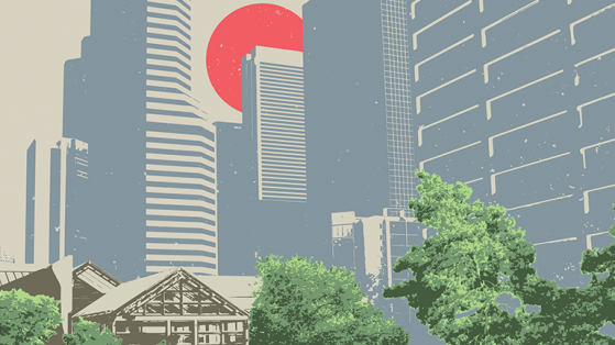 Preview of a mock poster made about Denver's Sakura Square.