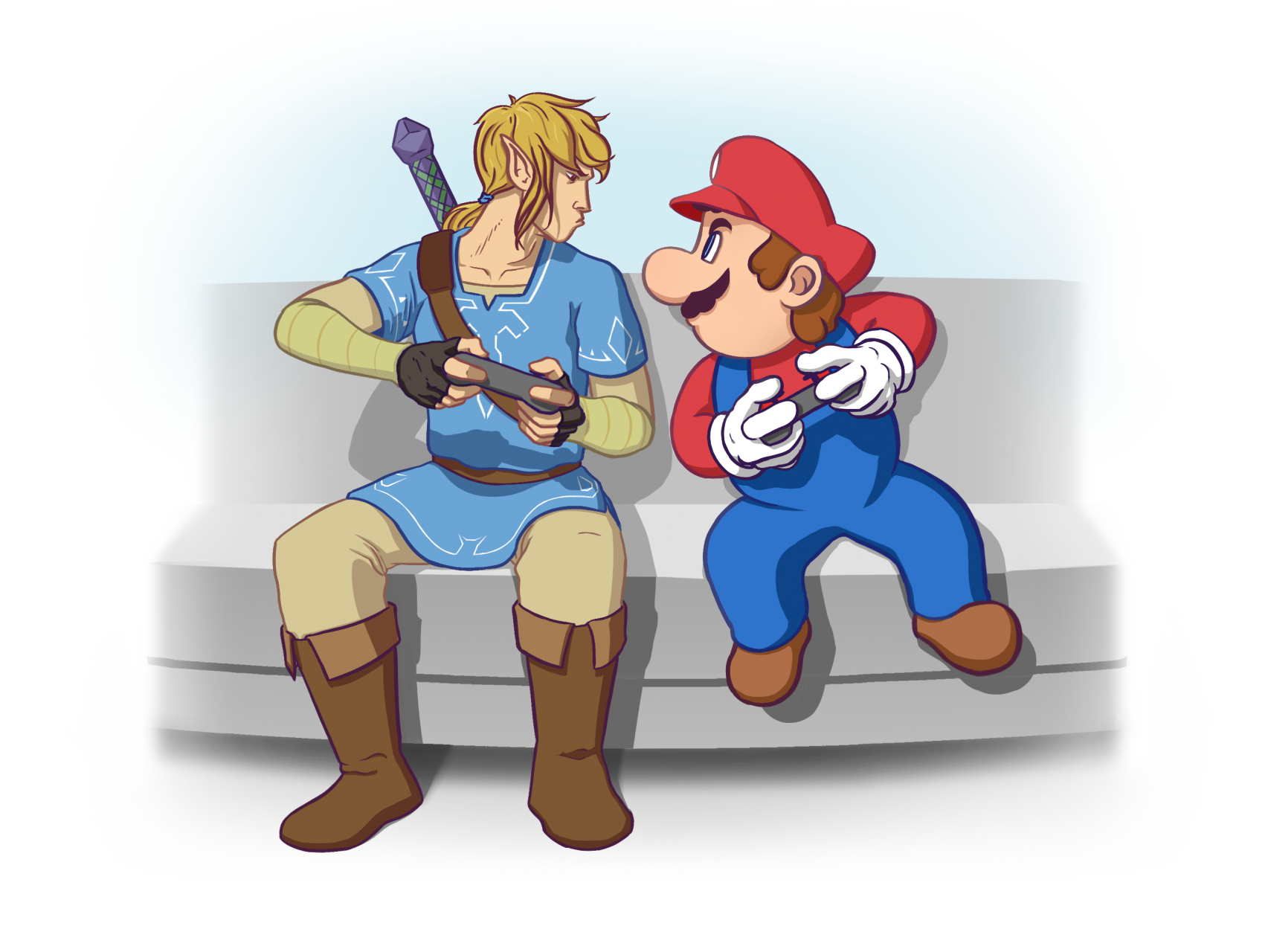 Illustration of Mario and Link from Nintendo games facing off on the couch while playing a video games.